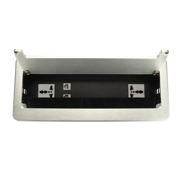 维能 桌面插 HZC300桌面插座(银色)二位多功能+电话+电脑