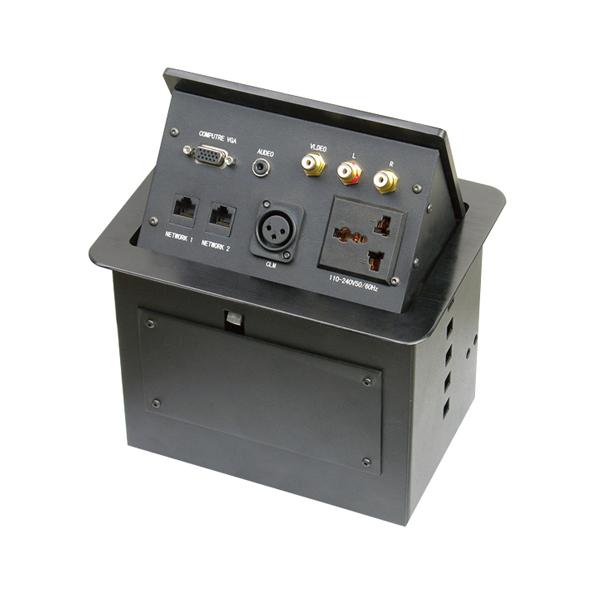 维能 桌面插 气杆式桌面插HZM-402 一位三插多功能+二位电脑+一位卡农+一位耳机+一位VGA+一位视频+一位双音频