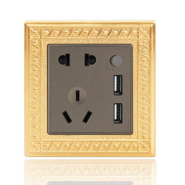 A88 五孔+双USB 24K金别墅开关