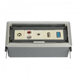 维能 桌面插 HZC512隐藏式桌面插座(灰色)VGA(孔)+USB+话筒+音频+视频