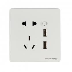 维能 A6白 二三插带二位USB插座